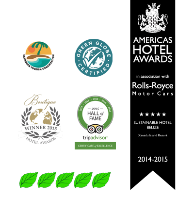 Green Globe, Tripadvisor, Caribbean Tourism Association, Americas Hotels awards for a San Pedro Ambergris Caye Belize Beach Resort